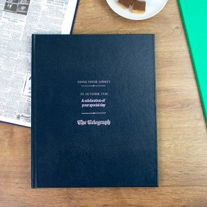 Personalised Navy Leather Daily Telegraph Birthday Newspaper Book