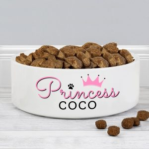 Personalised Princess Medium Ceramic White Pet Bowl