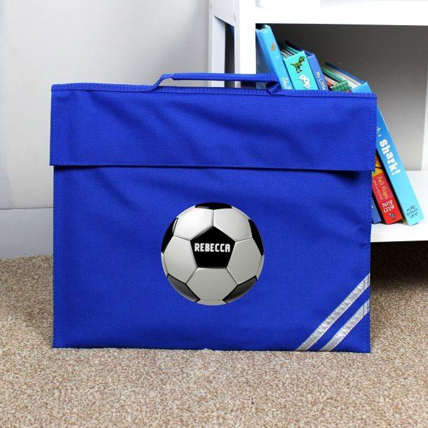 Personalised Football Blue Book Bag