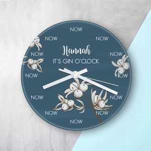 Personalised Gin O'clock Glass Clock