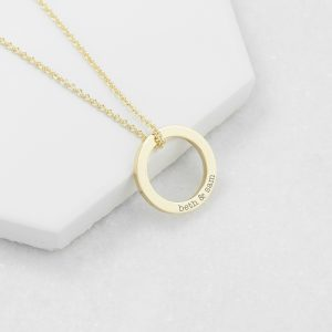 Personalised Gold Plated Family Ring Necklace