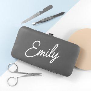 Personalised Grey Manicure Set