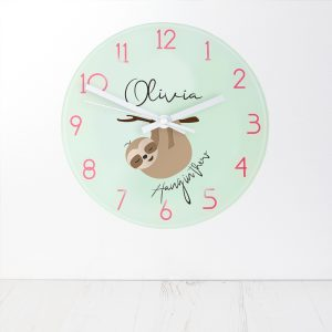 Personalised Hang In There Glass Clock