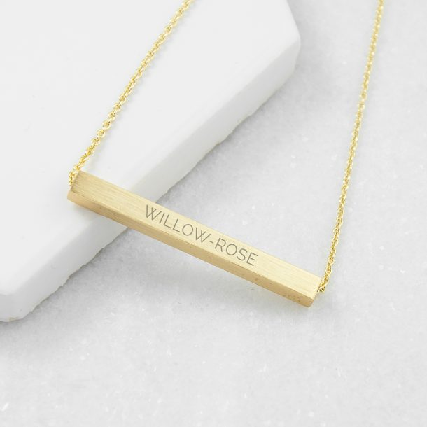 Personalised Horizontal Gold Plated Bar Necklace