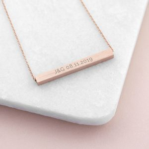 Personalised Horizontal Rose Gold Plated Bar Necklace