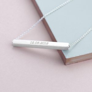 Personalised Horizontal Silver Plated Bar Necklace