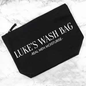 Personalised Men's Black Wash Bag