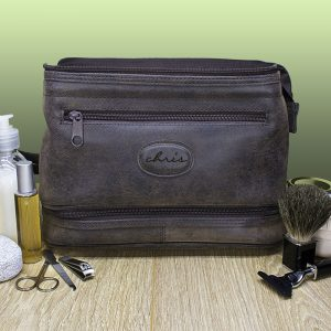 Personalised Men's Expandable Suede Textured Wash Bag