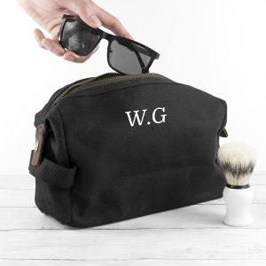 Personalised Men's Waxed Wash Bag