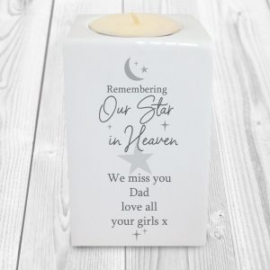 Personalised Our Star In Heaven Ceramic Tea Light Holder