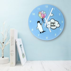Personalised Percy Penguin Glass Clock