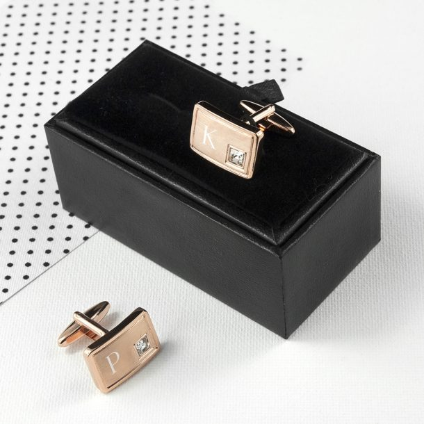 Personalised Rose Gold Plated Cufflinks With Crystal