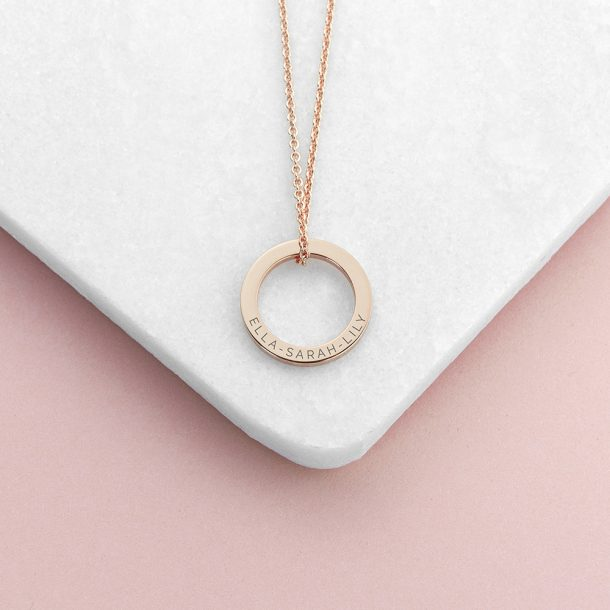 Personalised Rose Gold Plated Family Ring Necklace