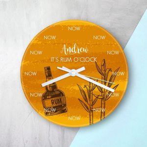 Personalised Rum O'clock Glass Clock