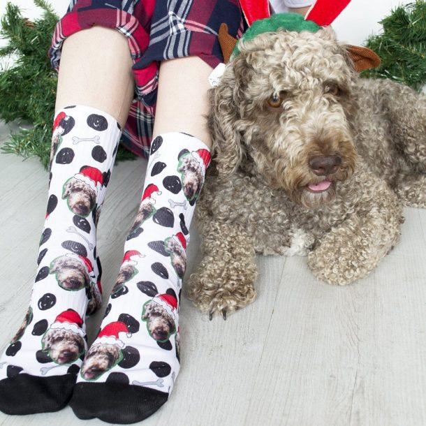 Christmas Dog Photo Upload Socks