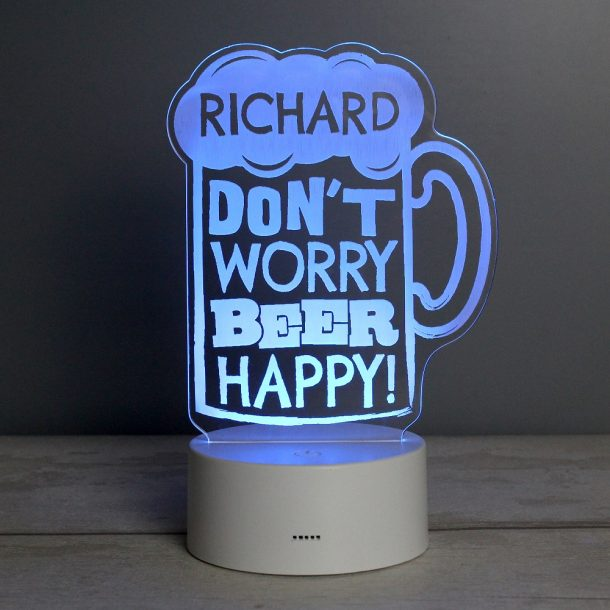 Personalised Beer Happy LED Colour Changing Light