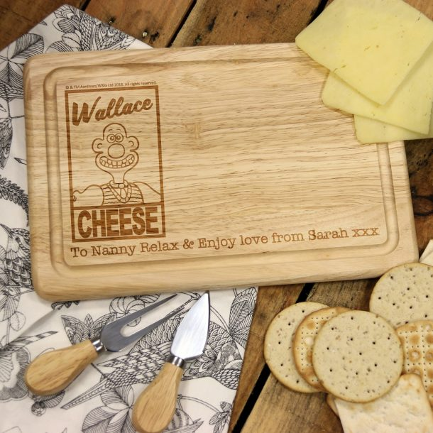 Personalised 'Wallace Cheese' Rectangle Cheese Board