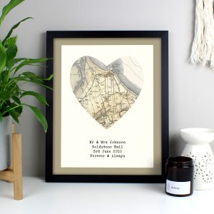 Personalised 1896 - 1904 Revised Map Heart Black Framed Print