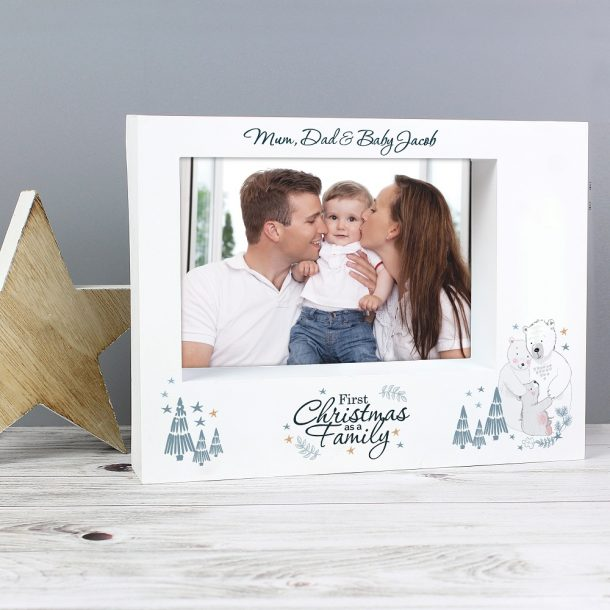 Personalised 1st Christmas As A Family' 7 x 5 Box Photo Frame
