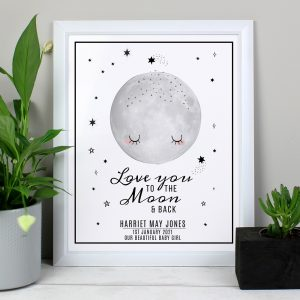 Personalised Baby To The Moon & Back White Framed Print