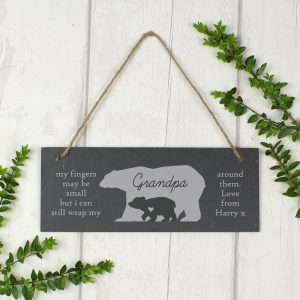 Personalised Bear Slate Door Plaque