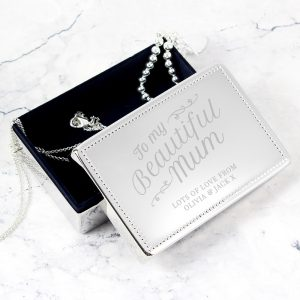 Personalised Beautiful Mum Rectangular Jewellery Box