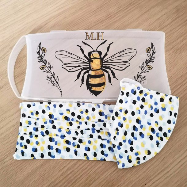 Personalised Bee Face Mask Case with 2 Ditsy Pattern Masks