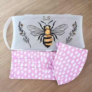 Personalised Bee Face Mask Case with Set Of 2 Pink Polka Dot Masks