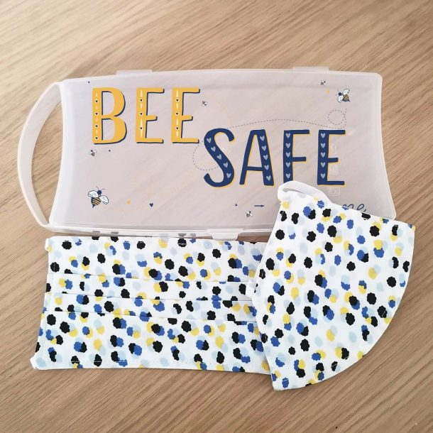 Personalised Bee Safe Face Mask Case with 2 Ditsy Pattern Masks