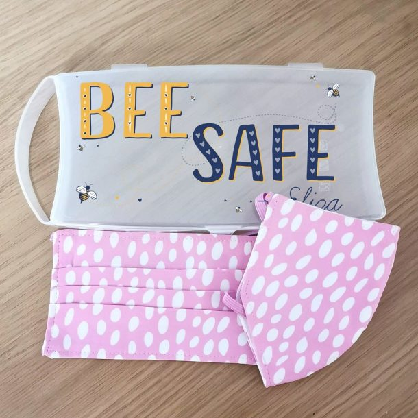 Personalised Bee Safe Face Mask Case with 2 Pink Polka Dot Masks