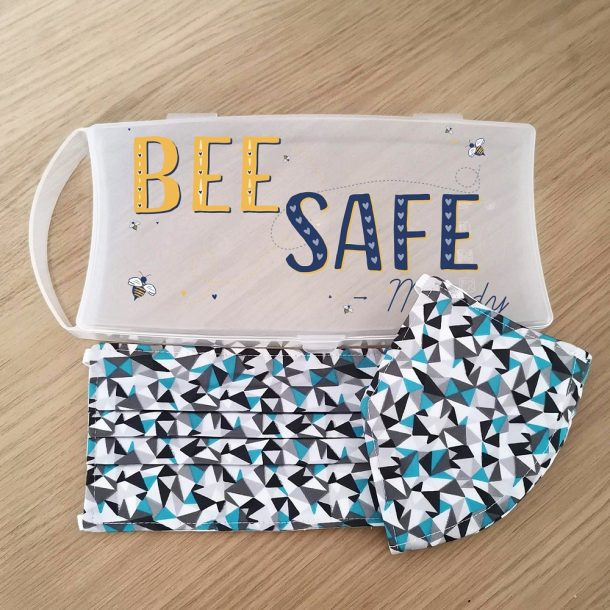 Personalised Bee Safe Face Mask Case with Set Of 2 teal Geometric Masks