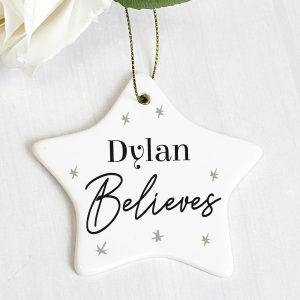 Personalised Believes Ceramic Star Decoration