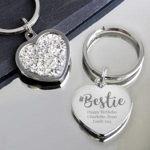 Personalised #Bestie Diamante Heart Keyring
