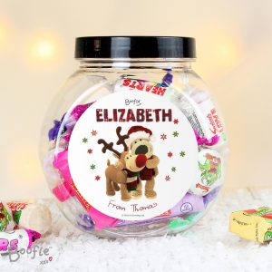 Personalised Boofle Christmas Reindeer Sweet Jar