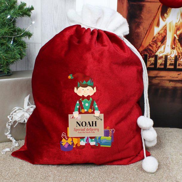 Personalised Christmas Elf Luxury Pom Pom Red Sack