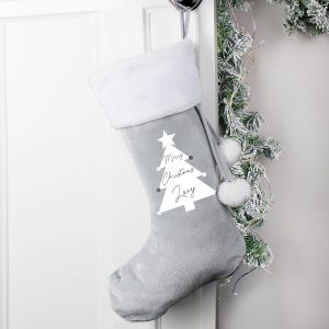 Personalised Christmas Tree Luxury Silver Grey Stocking