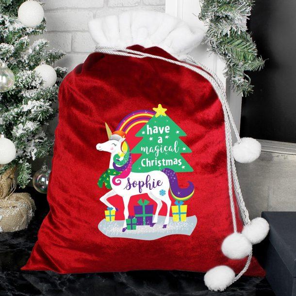 Personalised Christmas Unicorn Luxury Pom Pom Red Sack