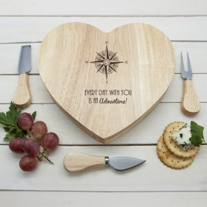 Personalised Compass Heart Cheese Board Set