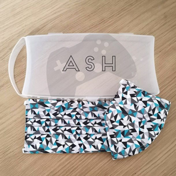 Personalised Controller Face Mask Case with 2 Teal Geometric Masks