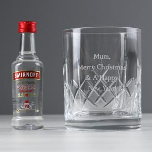 Personalised Cut Crystal Tumbler & Vodka Gift Set