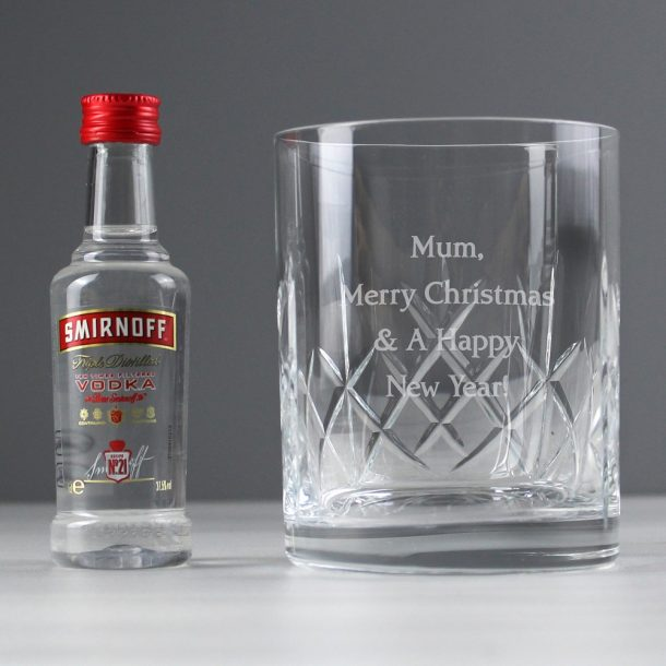 Personalised Cut Crystal Tumbler & Vodka Gift Set