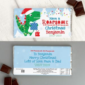 Personalised Dinosaur 'Have a Roarsome Christmas' Chocolate Bar