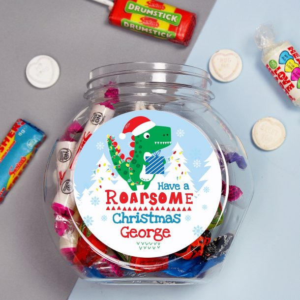 Personalised Dinosaur 'Have a Roarsome Christmas' Sweet Jar