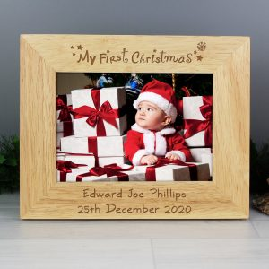 Personalised First Christmas 7x5 Landscape Wooden Photo Frame