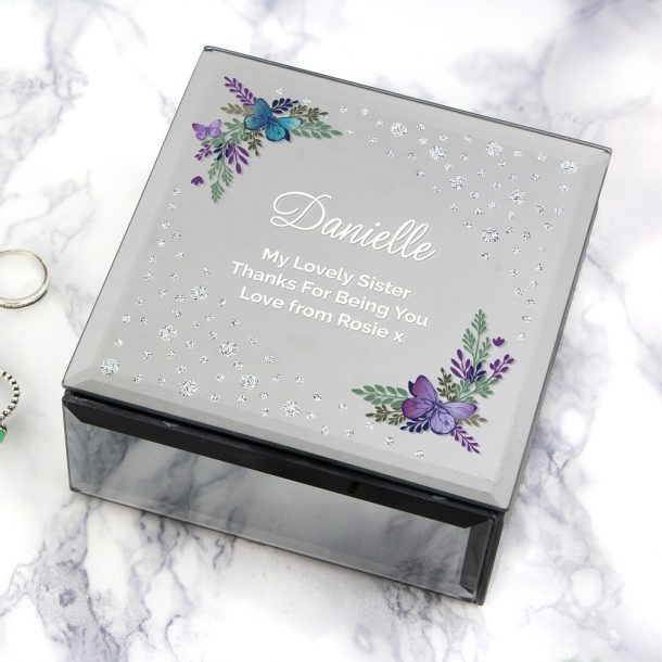 Personalised Floral Butterfly Diamante Glass Trinket Box