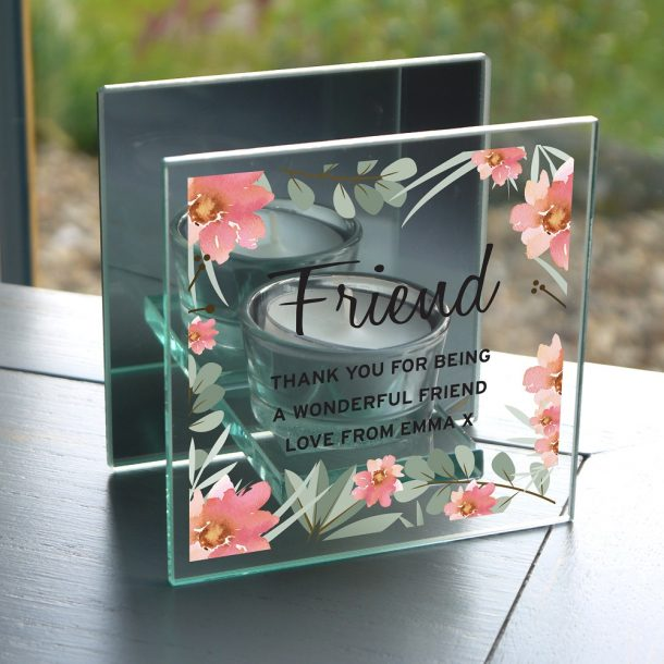 Personalised Floral Sentimental Mirrored Glass Tea Light Holder