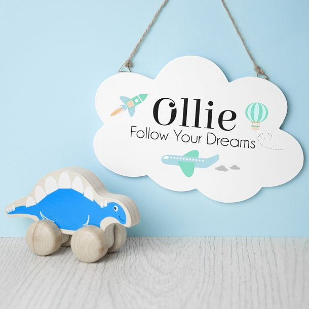 Personalised Follow Your Dreams Cloud Hanging Sign