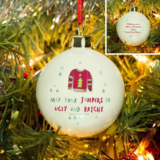 Personalised HotchPotch Jumpers Be Ugly & Bright Bauble