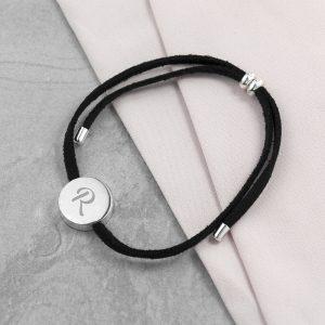 Personalised Initial Black Bracelet