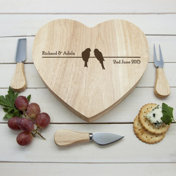 Personalised Love Birds Heart Cheese Board Set